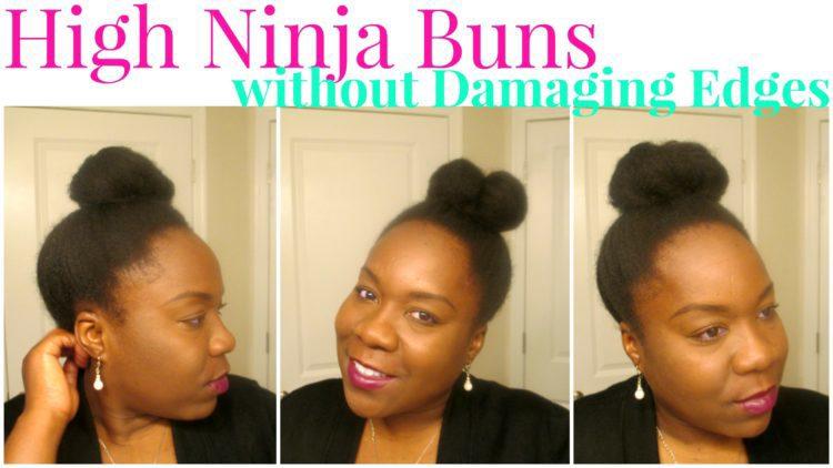 ninja bun on natural hair