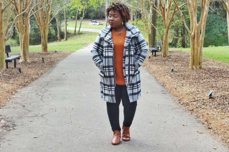 Plus Size Outerwear Check Plaid Coat