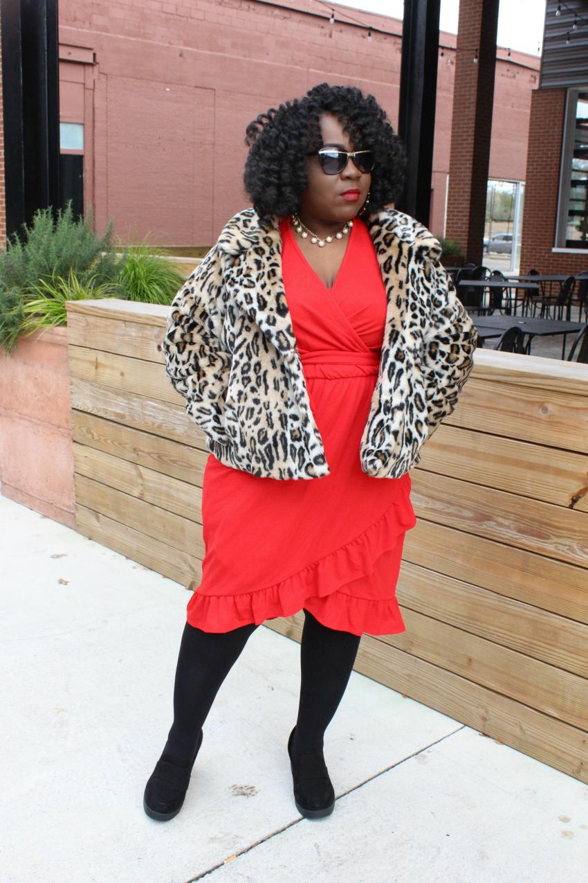Leopard Coat Red Dress